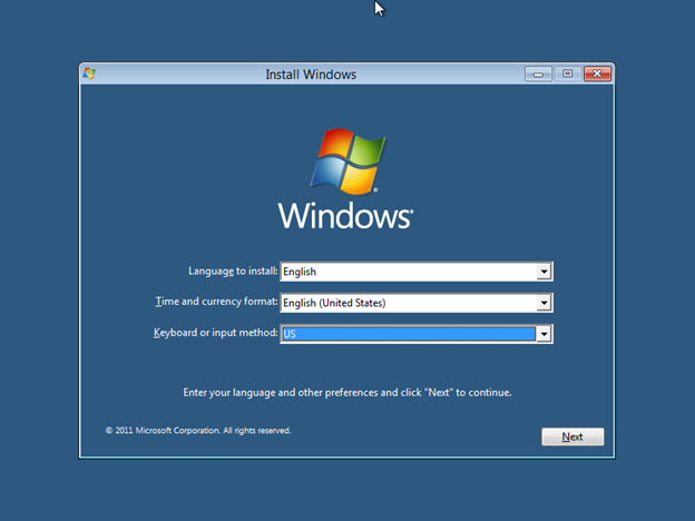 Windows 8 Installation - choose language