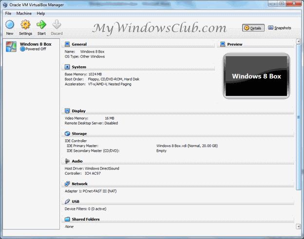 How to install Windows 8 on Oracle VM VirtualBox