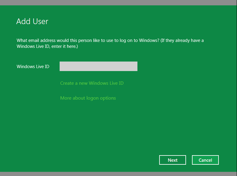 Add user in Windows 8