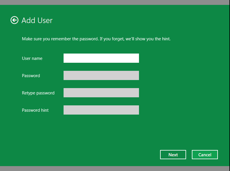 Local account in Windows 8