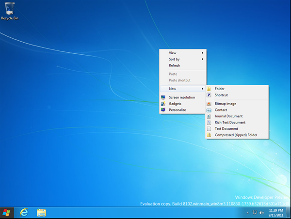 First step in creating Shutdown Shortcut in Windows 8