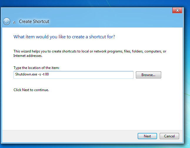 Second step in creating shutdown App in Windows 8