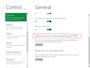 Screen shot of selecting Refresh PC option in Windows 8