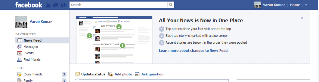 News list in Facebook