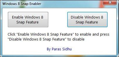 Windows 8 Snap Enabler screen shot