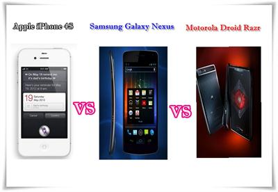iPhone 4S vs Galaxy Nexus vs Droid Razr Comparison