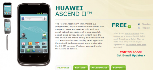 Buy Huawei Ascend II online with a price of $0.00 from US cellular