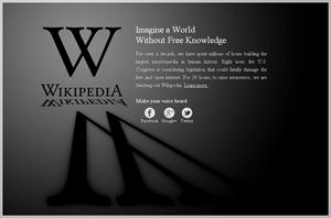 Wikipedia shut down (blackout) in protest against SOPA and PIPA for 24 hours