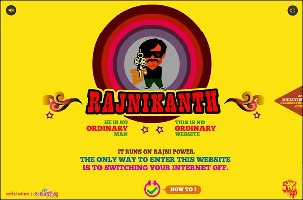 Rajinikanth's website allaboutrajni.com runs without internet