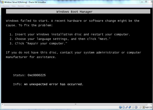 How to solve Windows 8 installation error 0xc0000225 on Oracle