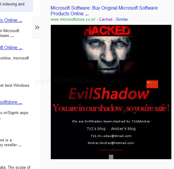 Microsoft Store website hacked - screenshot