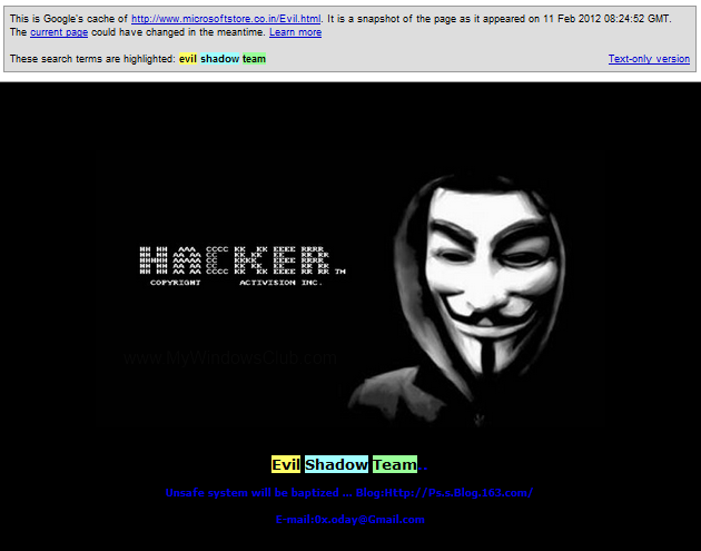 Evil Shadow Team - Hackers of Microsoft website