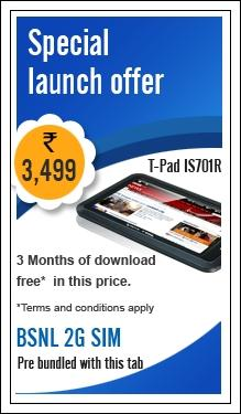 Aakash Tablet competitors are on line; BSNL Penta Tpad IS 701r offers better data plans