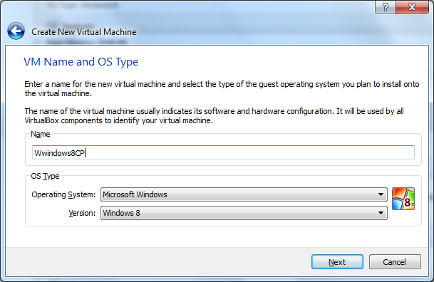 VM VirtualBox Create Virtual Machine Step 1