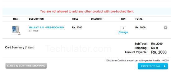Samsung Galaxy S III Pre Booking