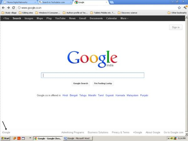 old google homepage