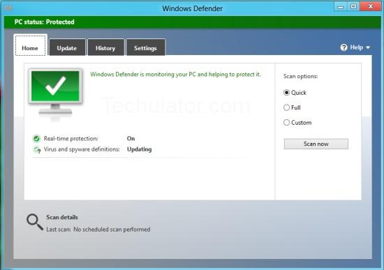Windows Defender for Windows 8