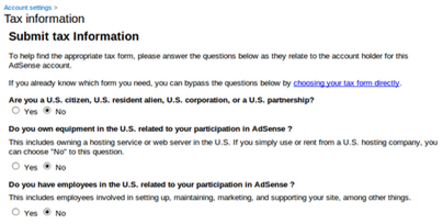 What to submit on Google Adsense Tax submission page?