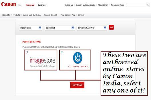 Select any of one store by Canon