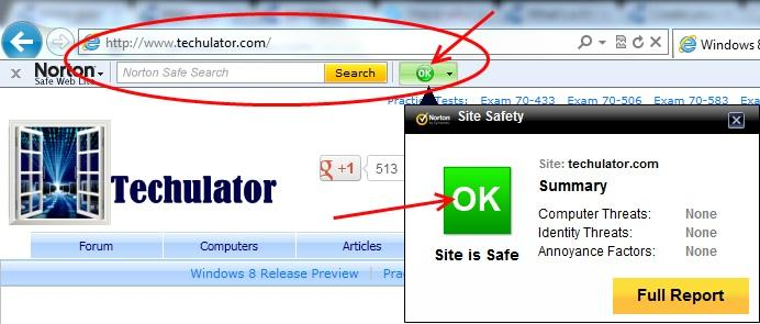 Norton Safe Web rating