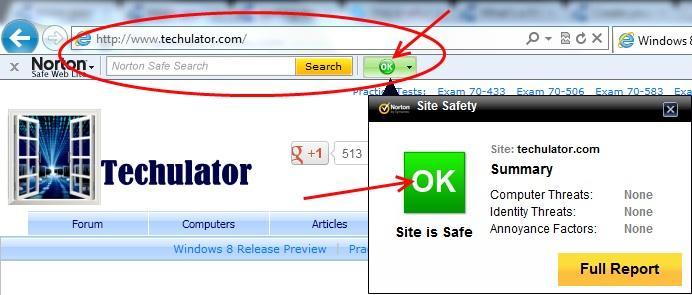 Norton Safe Web rating
