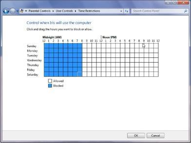 Windows 7 Parental Control - Time Setting