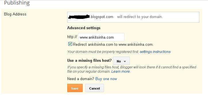 Redirect blogger domain