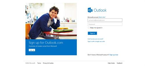 Sign Up page for Outlook Email account