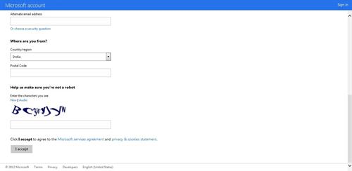 Sign Up information for Outlook Email Id-2
