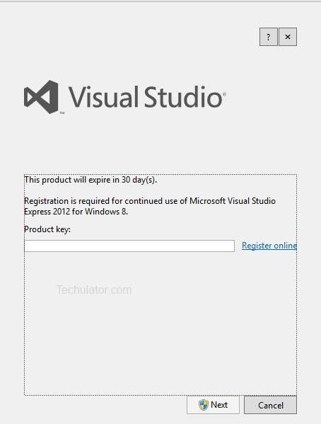 Online registration key for visual studio 2010 express edition.
