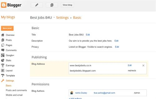 Custom domain added to blogger blog