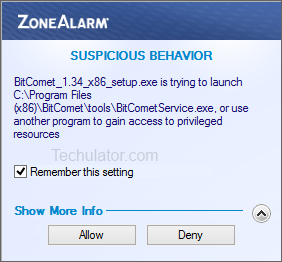 ZoneAlarm firewall warning