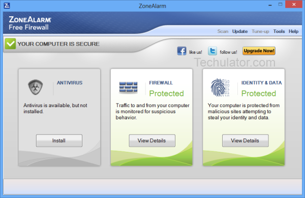 ZoneAlarm firewall for Windows 8