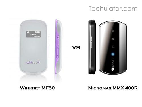 Comparison between Micromax MMX 400R 3G WiFi router and Winknet MF50 3G Pocket Wi-Fi Router