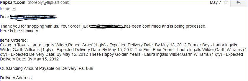 Flipkart Online Shopping Confirmation Email