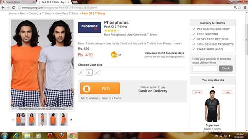jabong product order page