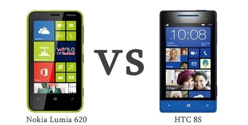 """Difference between <a href=""""/articles/Nokia-Lumia-620.aspx"""">Nokia Lumia 620</a> and <a href=""""/articles/HTC-8S.aspx"""">HTC 8S</a> Windows Phone 8 mobile phones"""