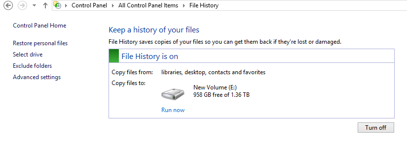 How to restore overwritten or deleted folders, documents in Windows 8 using file history?