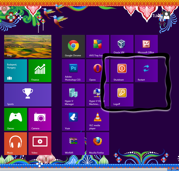 How to get Shutdown, log off, sleep, hibernate, lock, Restart shortcuts in Windows 8