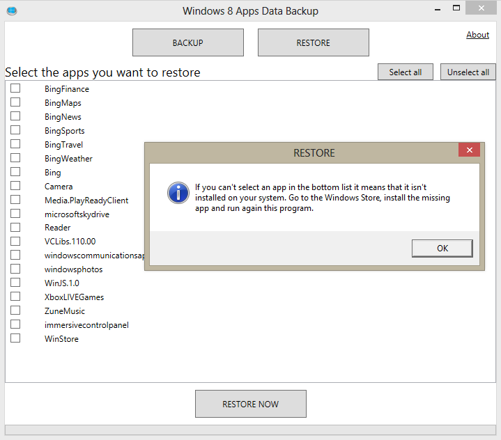 How to Backup and Restore App Data in Windows 8 using free utility?