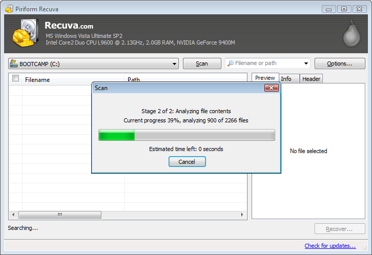 Recuva Scanning Process