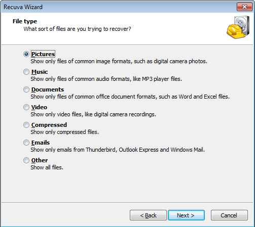 Recuva Wizard File type