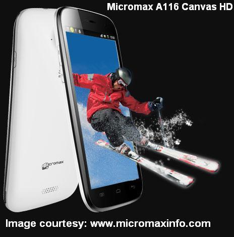 New smartphone A116 Canvas HD released by Micromax on February 14, 2013