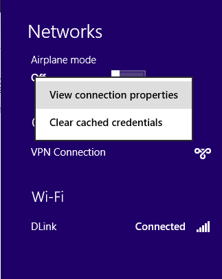 View connection properties in Windows 8