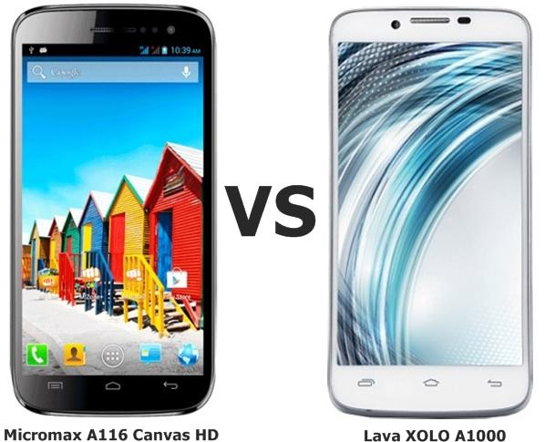 Micromax A116 Canvas HD vs Lava XOLO A1000