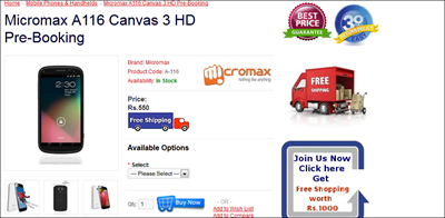 Micromax A116 Canvas HD buy online now in India