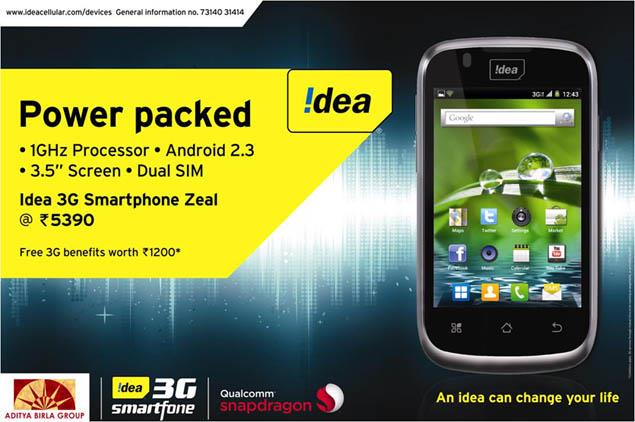 Idea Zeal 3G smartphone: Full specifications, features and price in India