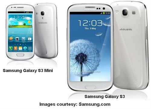 Samsung Galaxy S3 Mini features, specifications, prices compared with Samsung Galaxy S3.