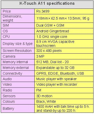 K-TOUCH A11 SPECIFICATIONS TABLE