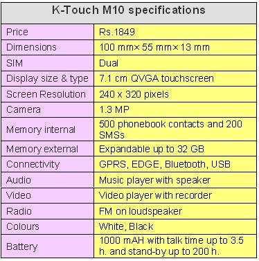 K-TOUCH M10 SPECIFICATIONS TABLE